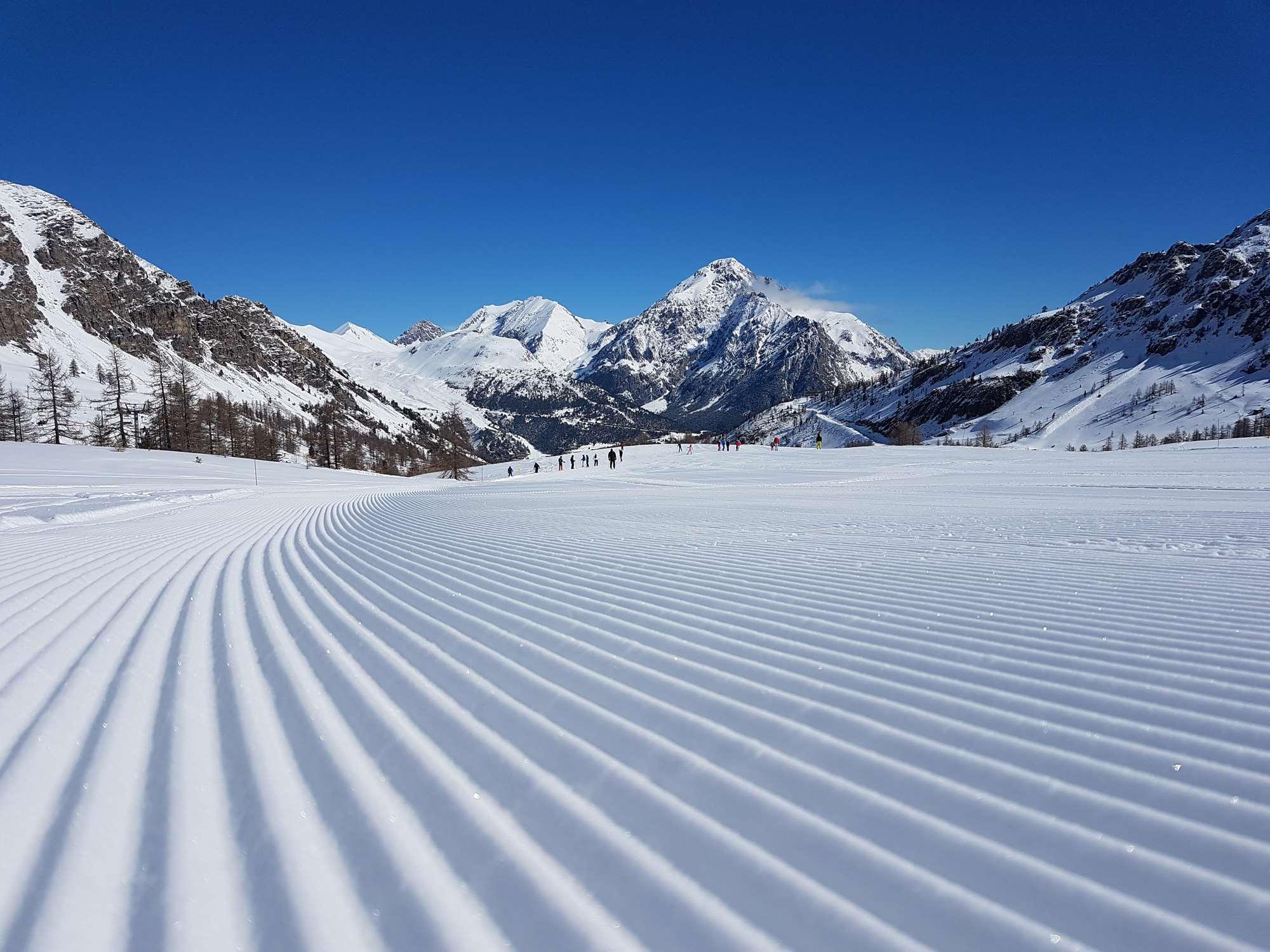 Corduroy slopes in Montgenevre