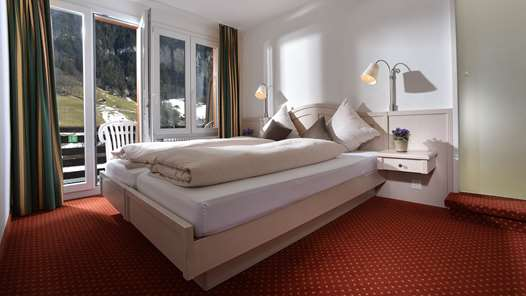 A double room in the Hotel Silberhorn Lauterbrunnen