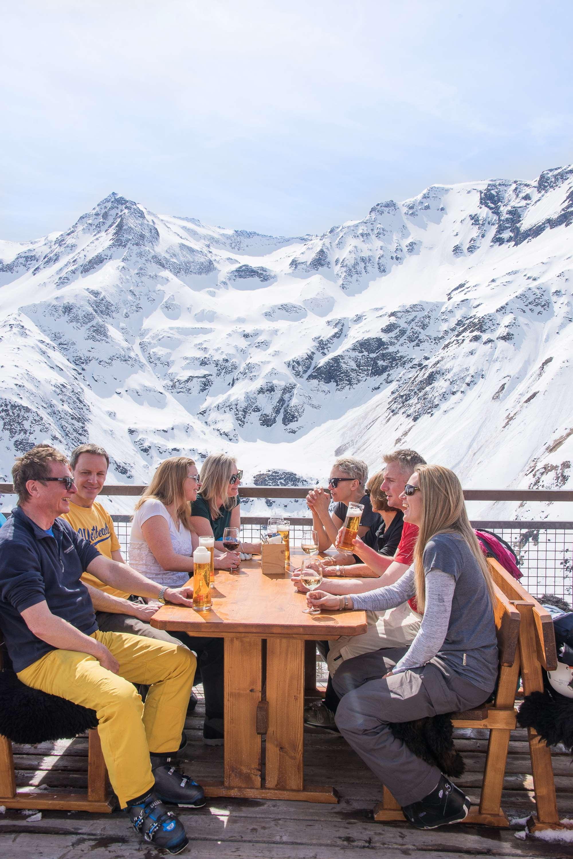 Drinks on the mountain at Sportgastein