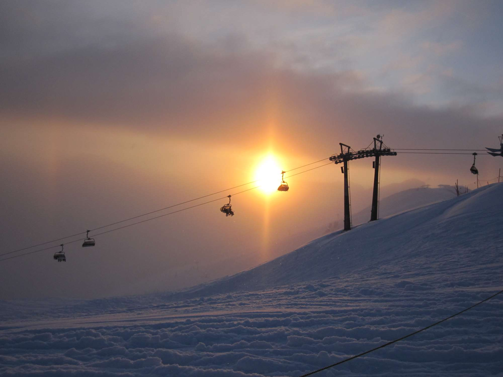 Chairlift and sunset in Saalbach