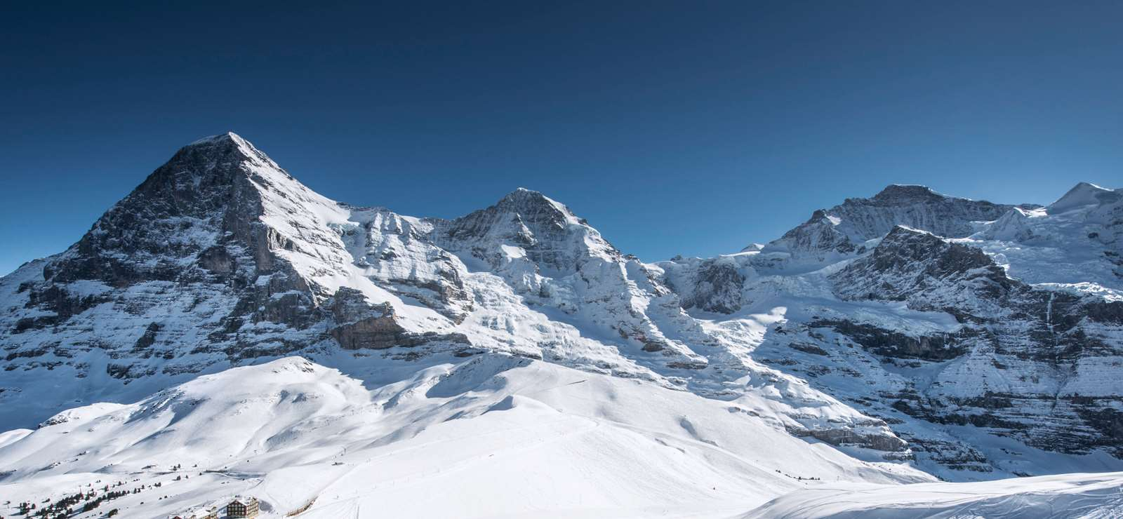 The Jungfrau peaks of the Eiger, Mönch and Jungfrau